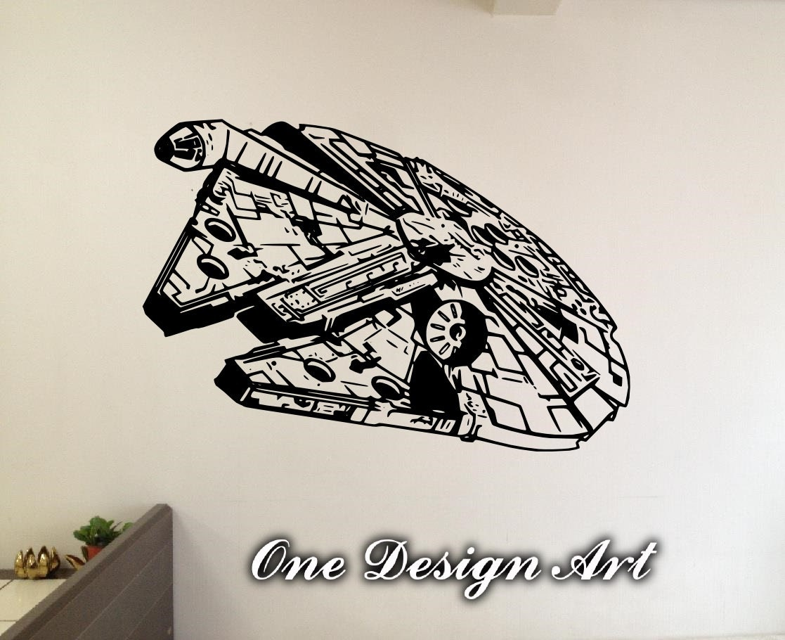 Millennium falcon star wars wall decals anime mural arts zoom amipublicfo Gallery
