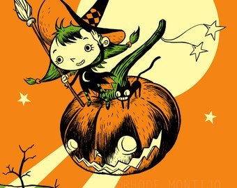 """Lil Witch 12"""" x 18"""" Signed Halloween Art Print by Rhode Montijo"""