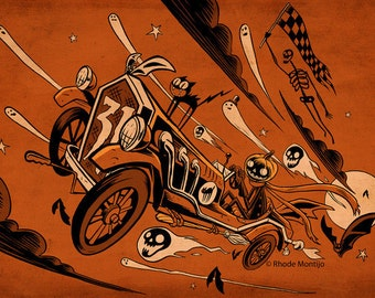 "Team Hallowe'en 12"" x 18"" Racing Halloween Signed Art Print by Rhode Montijo"