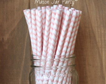 Blush Pink Paper Straws, 25 Blush Paper Straws, Cake Pop Sticks, Chevron Straws, Paper Party Straws, Wedding, Baby Shower, Birthday, USA