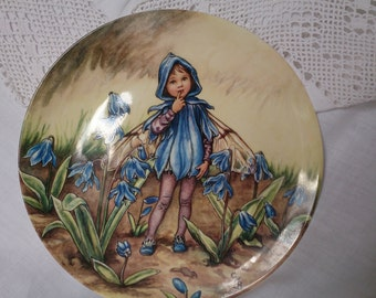 The Springtime Scilla Fairy from Cicely Mary barker's Flower Fairies, on this beautiful Wedgwood limited edition plate.