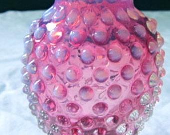 Hobnail pink vase fluted edges vintage glass