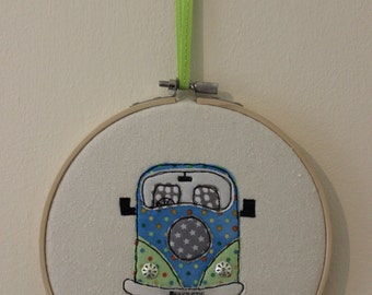 Campervan in Embroidery Hoop