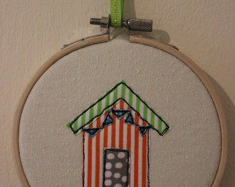 Single Beach Hut in Embroidery Hoop