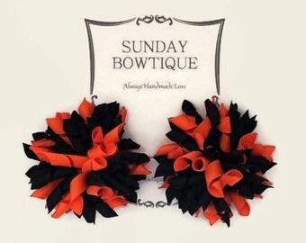 Black and Orange Korker Hair Bow, Korker Hair Bows, Set of 2 Medium, Halloween Korker, Halloween Hair Bow, Halloween Costume, Bow