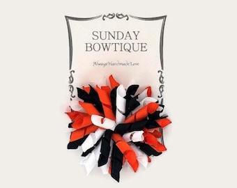 Orange Black And White Korker Hair Bow, Korker Hair Bow, Halloween Hair Bow, Halloween Costume, Black Orange White Bow, Tiger Hair Bow