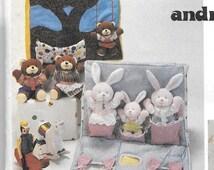 Vintage Stuffed Bunny and Bear Dolls Pattern, Bunny and Bear with Clothes Pattern, Doll Carry House Pattern, 4208 McCall's Crafts Pattern