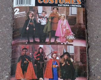 Kids Costumes, Simplicity 0635, Child's Costumes, Robin Hood, Maid Marion, Princess, Grim Reaper, Dracula, Witch, Sizes 3-8 Costume Patterns