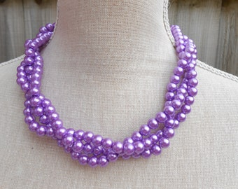 Handmade multi strand statement purple pearl necklace, elegant jewelry, perfect for wedding, Valentine gift, Birthday, Christmas
