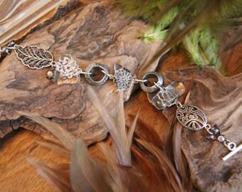 Broken glass and metal bracelet