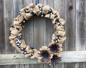 Floral Burlap Wreath, Autumn Wreath, Floral Wreath, Everyday Wreath, Floral Polka Dot Wreath, Floral Decor, Vintage Gifts, Shabby Chic Gifts