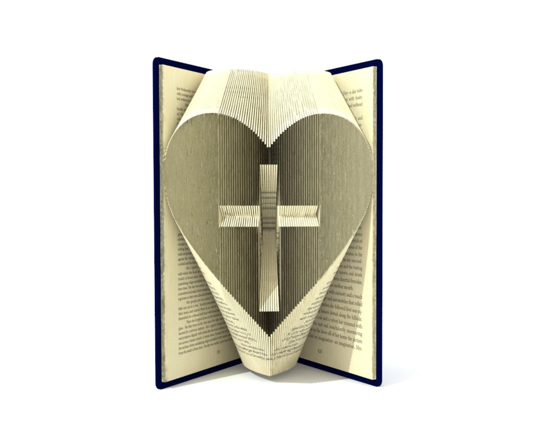 Book folding pattern CROSS in a HEART 195 by SimplexBookFolding