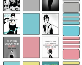 Audrey Hepburn/Breakfast at Tiffany's/Color Block Inspired Vertical Stickers for use with Erin Condren-Printable