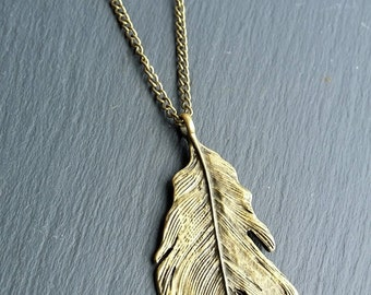 Long Necklace With Feather Pendant