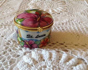 Vintage French Hand Painted Trinket Box,