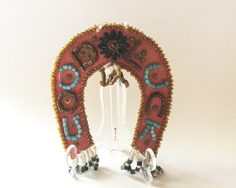 "Native American Beaded ""Good Luck"" Horseshoe"
