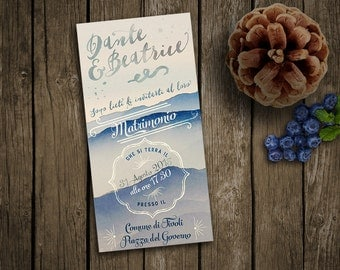 "Wedding invitation ""Mountains"" - Custom invitation retro and vintage style, for winter wedding"