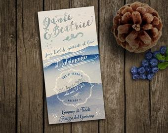 "Wedding invitation ""Mountains"" - Custom invitation retro and vintage style, for winter wedding"