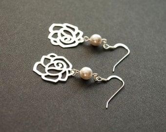 Sterling silver pearl earrings - silver flower earrings