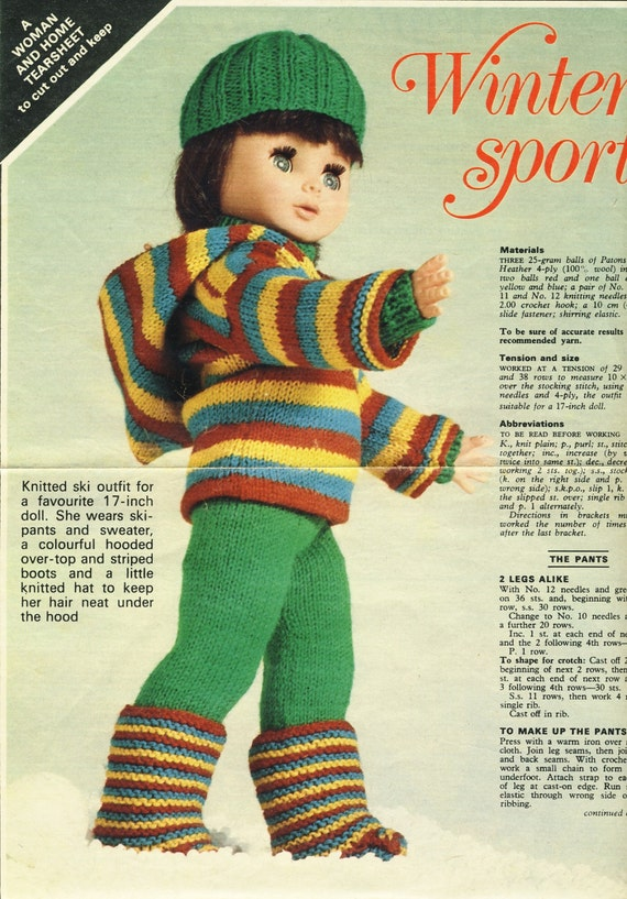 Yours Magazine Knitting Patterns : Vintage Knitting Pattern for 17 Doll Outfit Winter