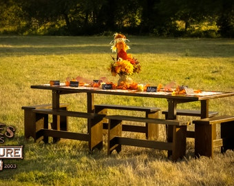 Pilgrim's Table - Handmade 10 Person Thanksgiving/Christmas Gathering Table