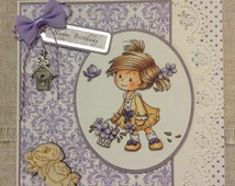 Decoupage card / handmade greeting card / birthday card / cards for girls  / handcrafted card