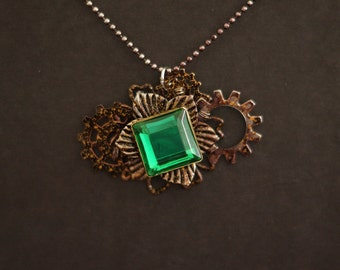 Steampunk Green Accent Pendant