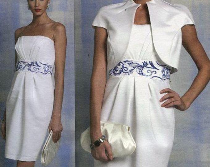 FREE US SHIP Vogue 1154 Badgley Mischka Sewing Pattern Strapless Dress Bolero Jacket Size 6 8 10 12 Bust 30.5 31.5 32.5 34  Uncut New