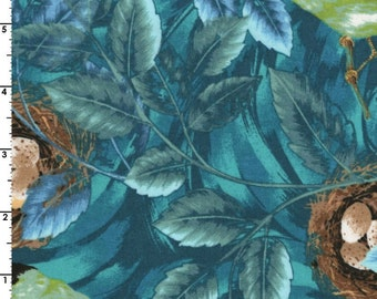 Leaves, Birds and Bird Nests ~ Flutter Collection ~ 100% QSQ Cotton by RJR Fabrics