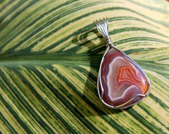 Amazing, NATURAL colors- Botswana Banded Agate Pendant Wrapped in .925 Sterling Silver- Handmade- Gemstone Jewelry