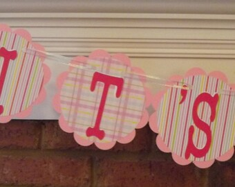 It's a Girl banner Pink and Pastels