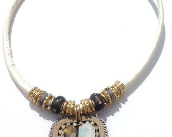 Contemporary Statement Pendant Necklace, Shades of Brown, Boxed