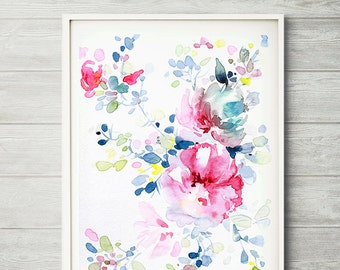 Flower painting, abstract painting, colorful art, floral wall decor, watercolor floral print,  watercolor flower, Watercolor flower