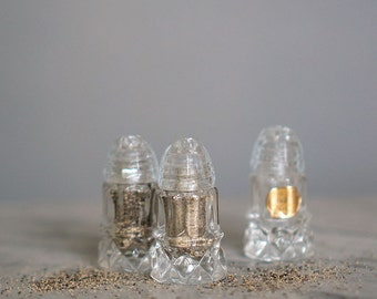 Cut Glass Salt & Pepper Shakers | Salt Shakers | Kitchen Accessory | Tableware | Vintage Salt Shaker | Crystal Lookalike