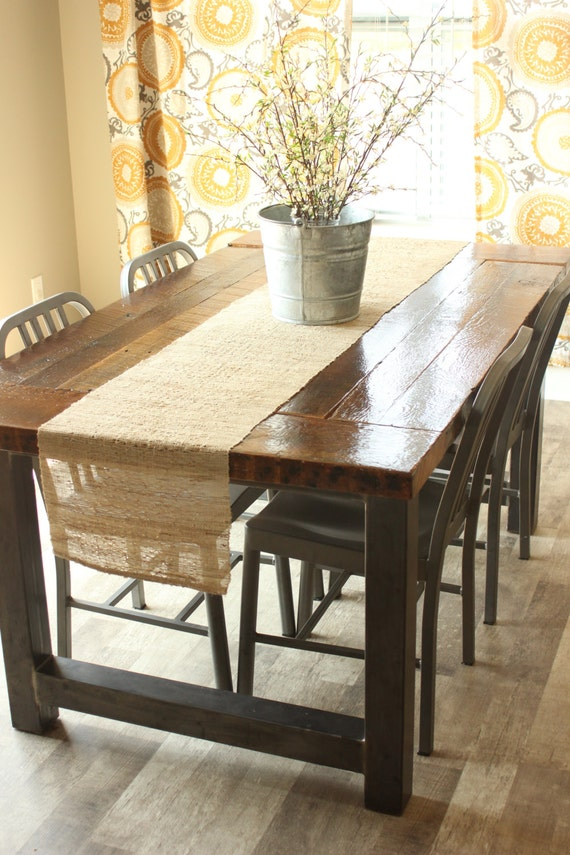 Dining Room Table Industrial Rustic Barnwood Farmhouse Table