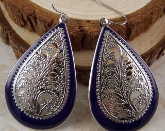 Bohemian Jewelry Boho Earrings - Blue Silver Filigree Dangle Earrings - Gifts for Her Wife Girlfriend Daughter Friend Mom Teens