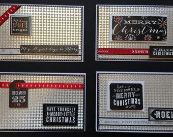 Black & White Christmas Card, Set of 4 Christmas Card, Handmade Designer card, Holiday Card,