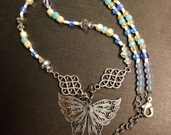 Silver toned Filagree butterfly necklace