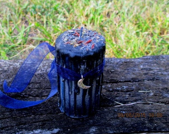 Midnight Moon Candle ~ Spell Candle ~ Witchcraft Candle ~ Wicca Spell Candle ~ Drippy Candle ~ Wicca Ritual Candle ~ Witch's Candle