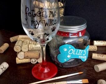 Doggie Treat Jar and Wine Glass Set