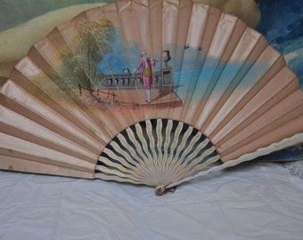 french hand fan. victorian antique 1800\u0027s french silk fan, large hand painted vintage ladies fan o