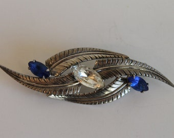 Vintage Adorna Sterling Silver Blue and White Marquise Cut Rhinestone Feather Pin Brooch