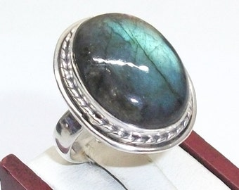 Very nice old ring 925 Silver ring with Labradorite vintage size 18.6 mm, size 8.5 SR158