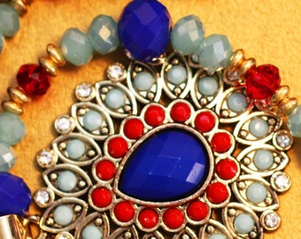 Red and Blue Beaded necklace with pendant