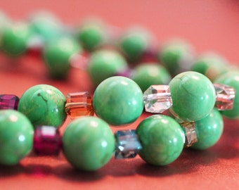 Chunky Green beaded Necklace