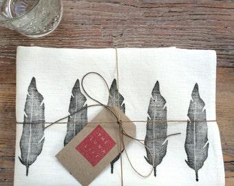 100% Linen Hand Printed Black Feathers Luxury Kitchen Tea Towel