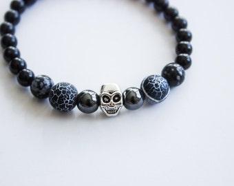 Men's Skull Black Onyx Bracelet