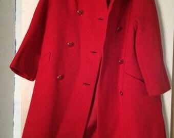 Vintage, Red Wool Coat