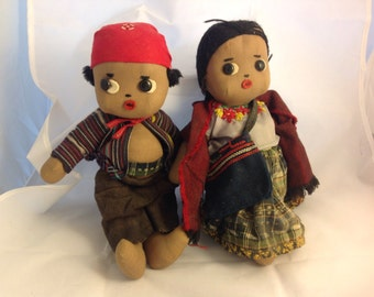 CLOTH DOLLS- Made in Mexico- Pair of Dolls- Vintage Dolls