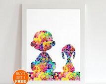 Snoopy Charlie Brown watercolor illustration art print,  Snoopy art, The peanuts movie, art print, movie art, Children, Christmas